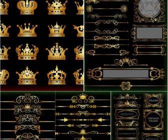 Gold vintage design elements and ornate frames vector