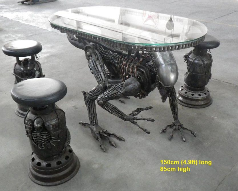 alien table scrap metal art life size furniture for sale