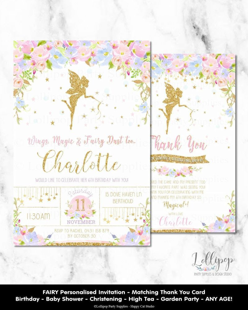 a9bcf0b755a FAIRY BIRTHDAY INVITATIONS FLOWERS GARDEN HIGH TEA BABY SHOWER CHRISTENING  GOLD  personaliseditem  Birthday