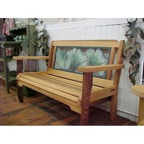 Wood Country Gingko Leaf Red Cedar Garden Bench Cedar Garden Garden Bench Country Bench