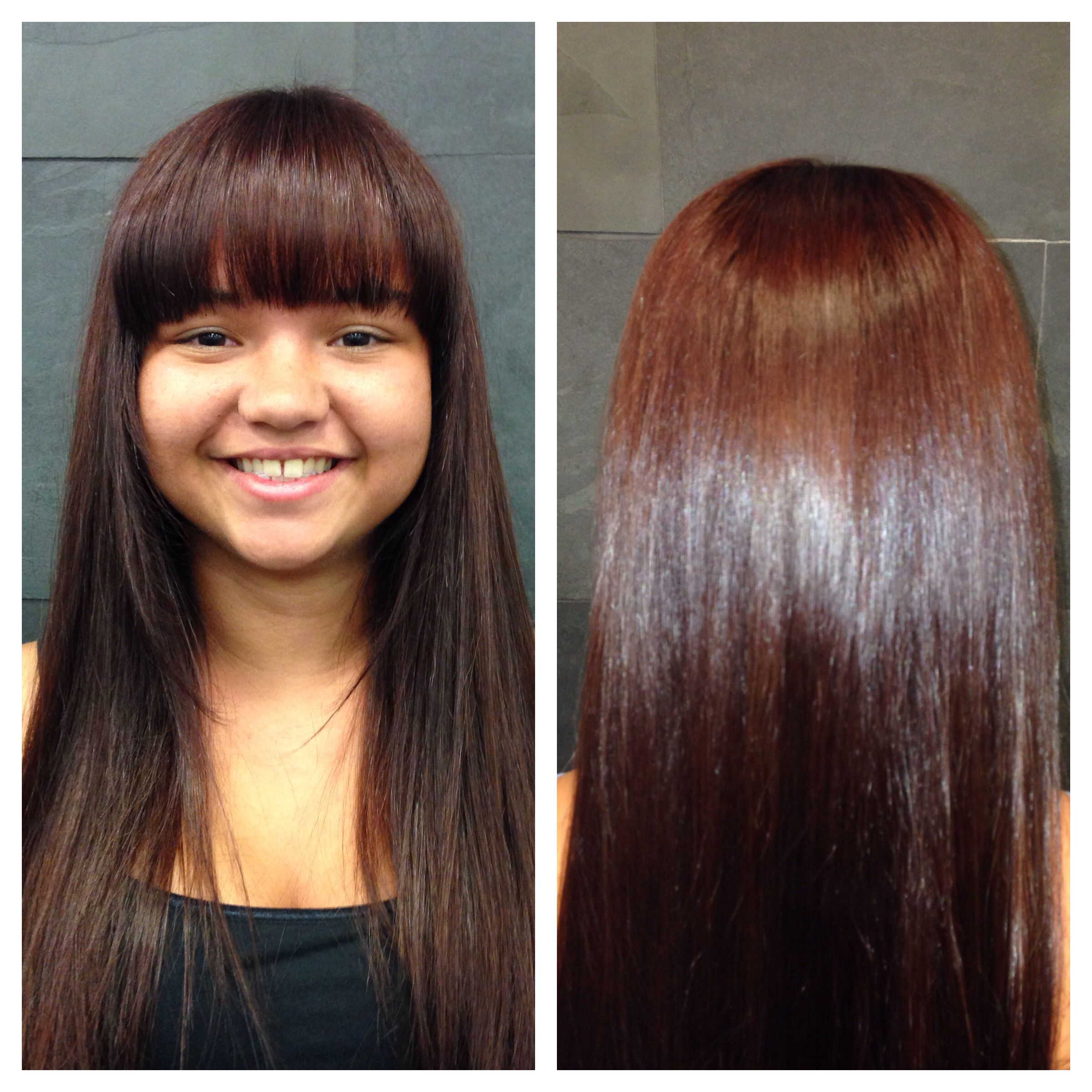 A Dark Mahogany Base Color With Hints Of Warm Auburn Balayage Makes This Long Hairstyle The Perfect Mix Both And Cool Red Tones