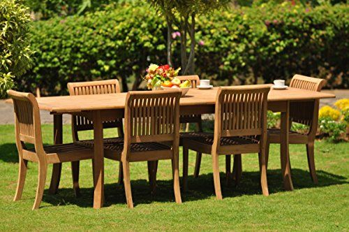Gradea Teak Wood Dining Set 6 Seater 7 Pc 94 Double Extension