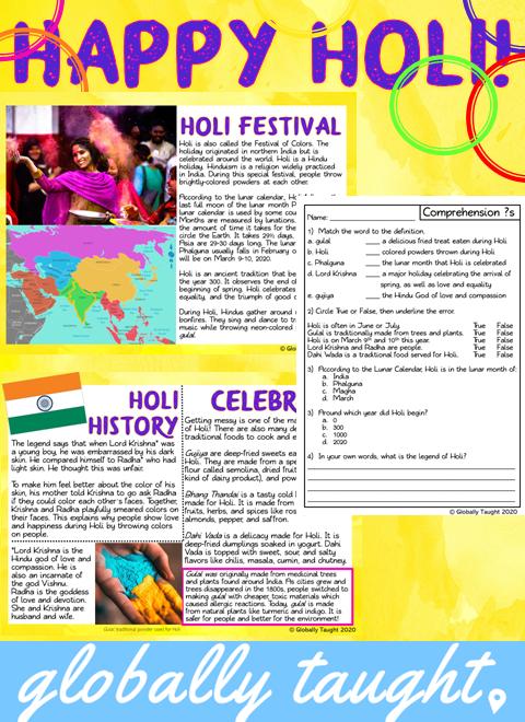 Holi Festival 2020 Reading, Activities & Craft Holi