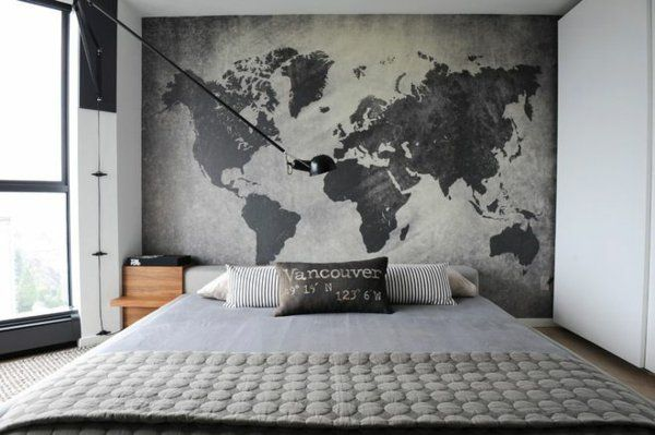 Black and White Detailed Map Mural Carte du monde, Fresque