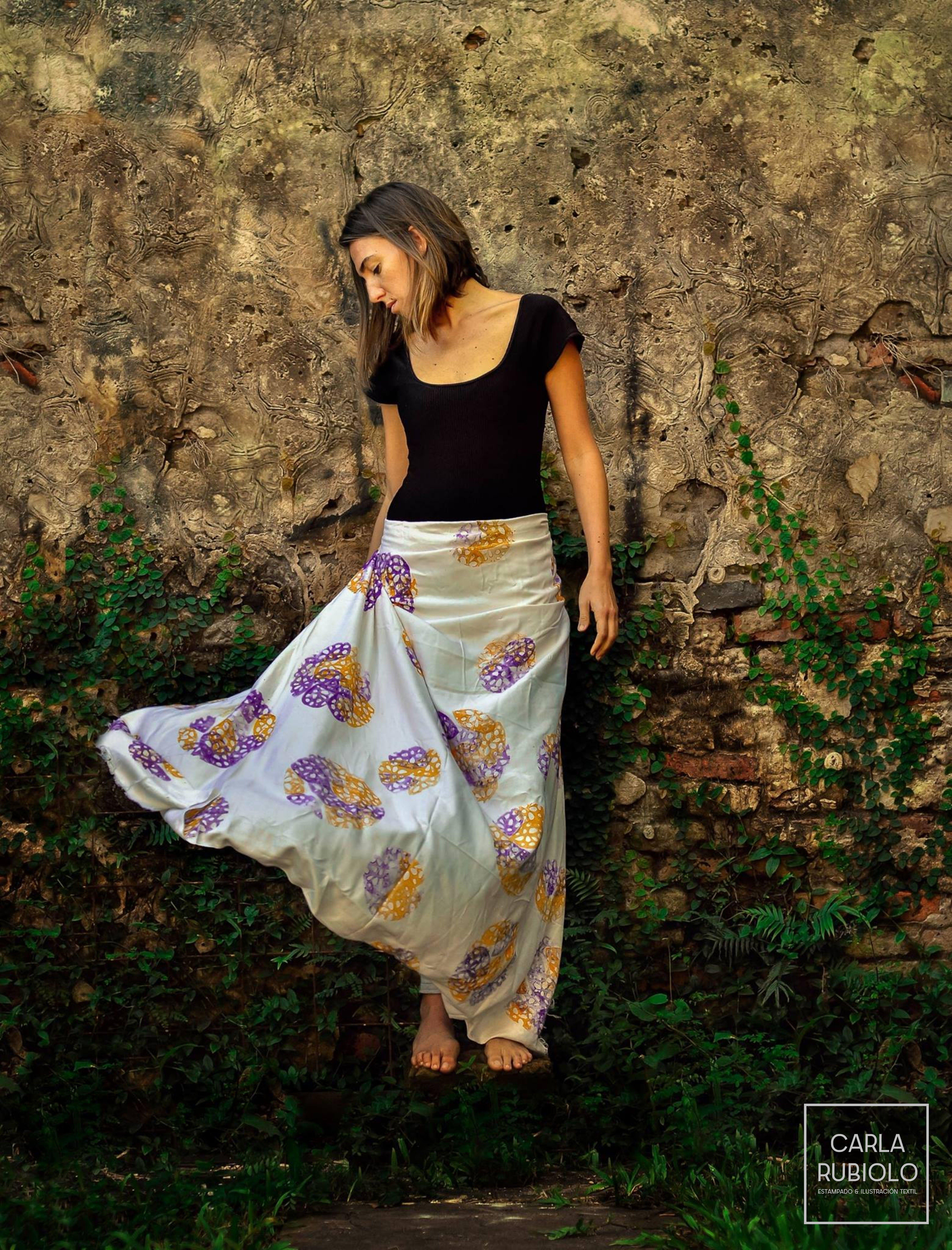 Falda estampada > Block printing