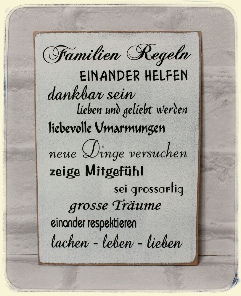 schild wandschild familien regeln holz shabby vintage handgefertigt in m bel wohnen. Black Bedroom Furniture Sets. Home Design Ideas