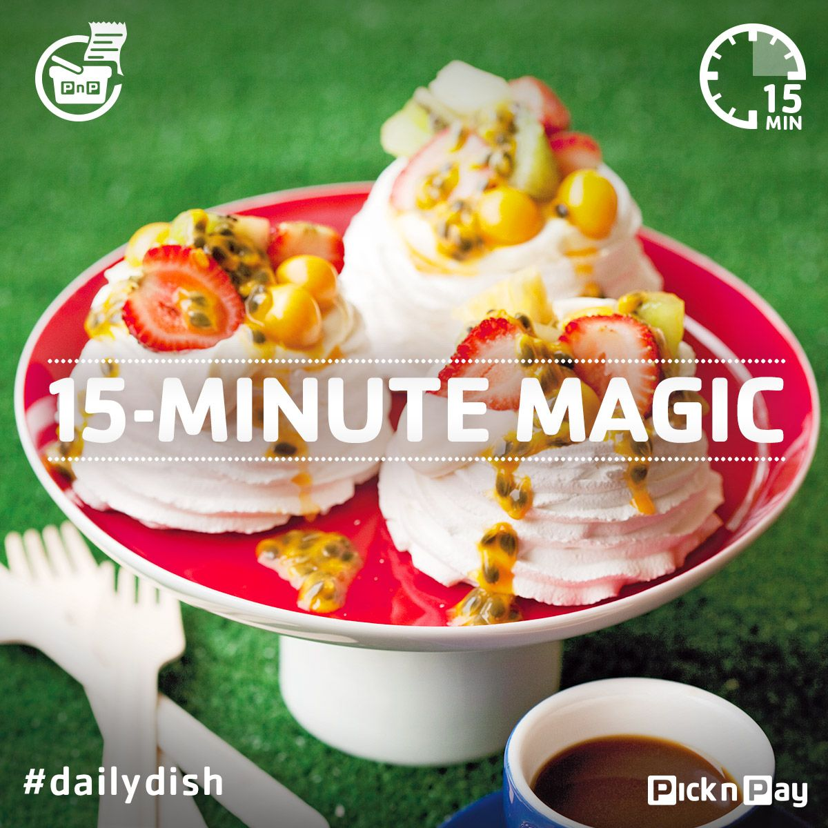 Craving a sweet treat? Have one in seconds, make this fruity pavlova #dailydish #picknpay #freshliving