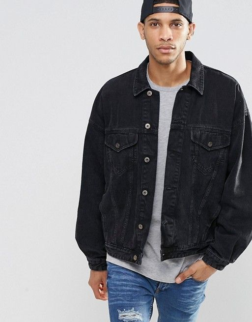 e722c30f50 Denim Jacket In Oversized Fit With Black Wash
