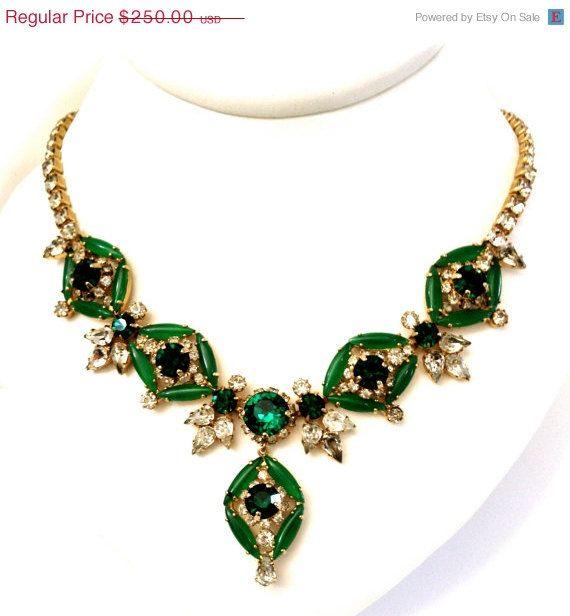Hobe' Green Rhinestone  Necklace  Stunning by Vintageimagine