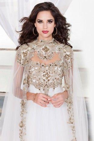 ec13fd20c63 White Empire Waist White Prom Dress with a Cape 4081