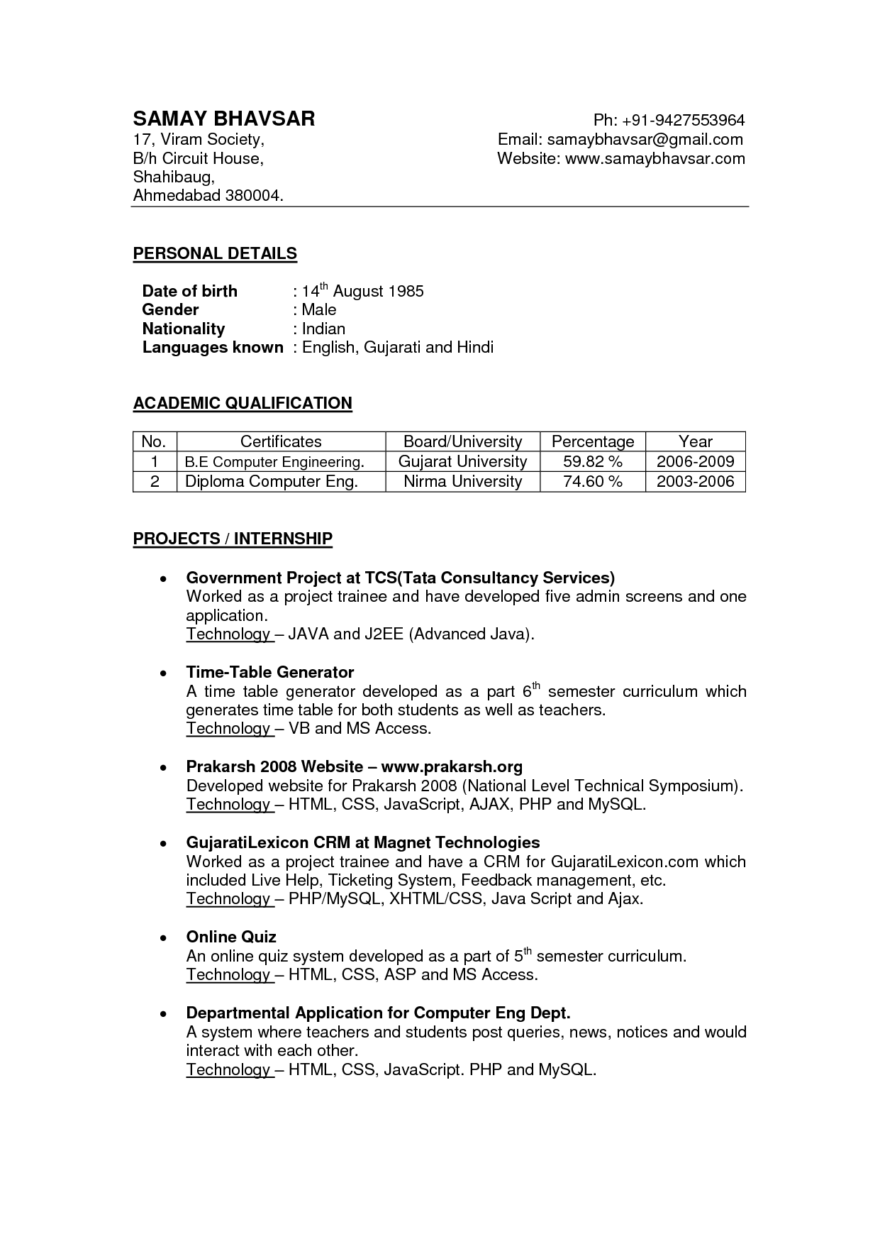 Free Resume Templates India Freeresumetemplates India Resume
