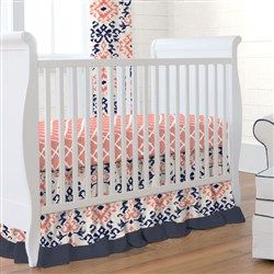 Navy And Coral Ikat Crib Bedding With Images Coral Crib