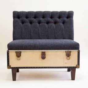 The Suitcase Chair – Yellow Trunk/ Black linen