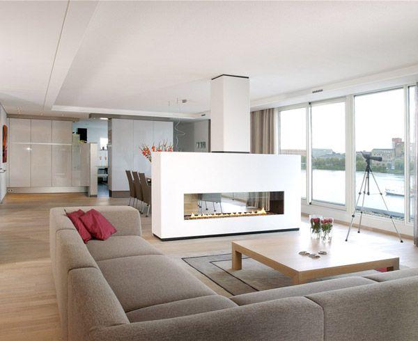 Estufa chimenea etanol salón Diseño Interior Pinterest - diseo de chimeneas para casas