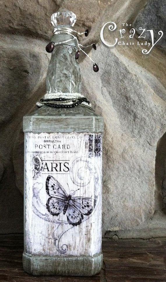 Decorative Grey Paris Butterfly Bottle, Altered Bottle, Paris, Home Decor