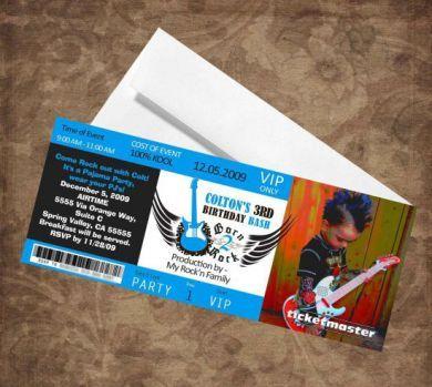 Rock Concert Ticket Invitation (change color) Red Carpet - concert ticket invitations