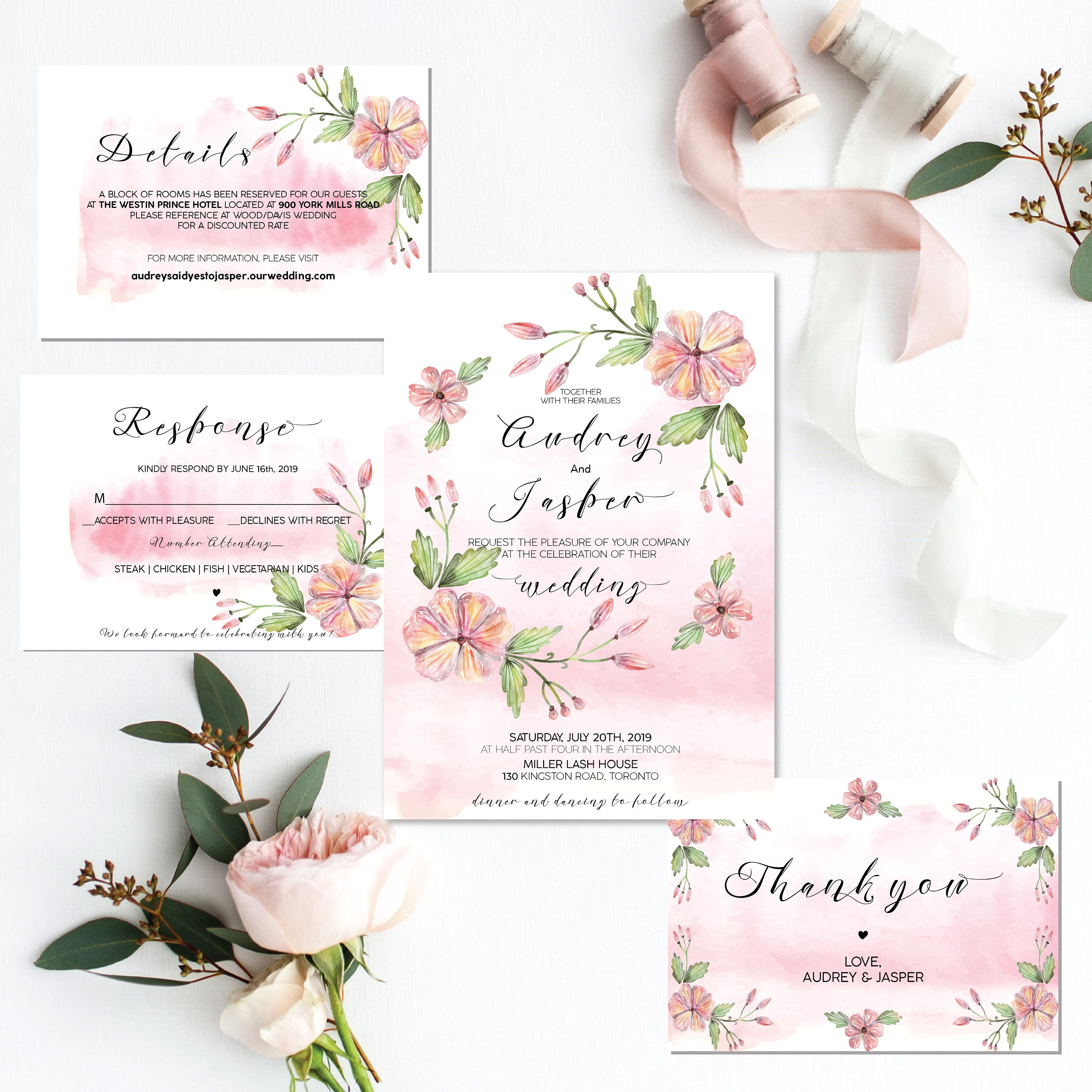 Blush Watercolor Wedding Invites Boho Wedding Invitation Template