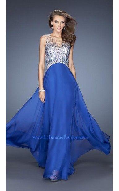Royal Blue Sheer Chiffon Gown by La Femme 20163
