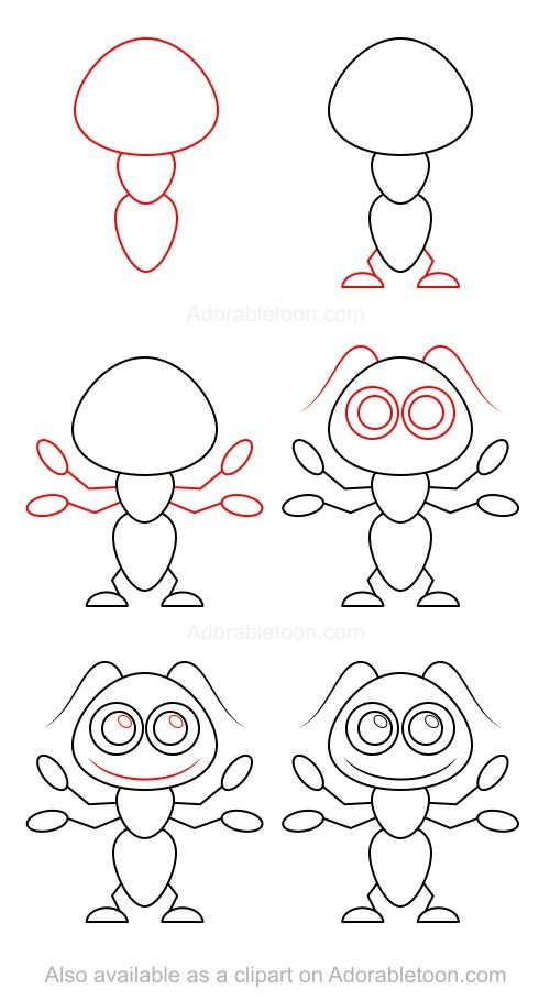 Comment dessiner une fourmi step by step drawing - Dessin d une fourmi ...