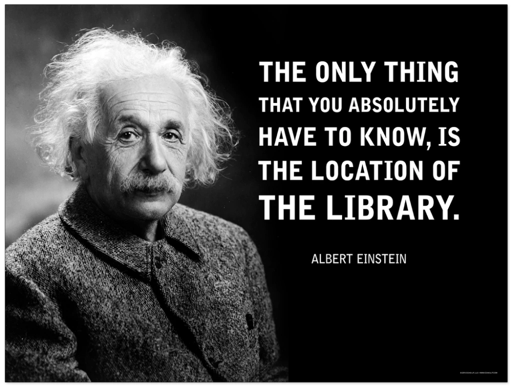 Location of the Library Einstein Quote Fine Art Print