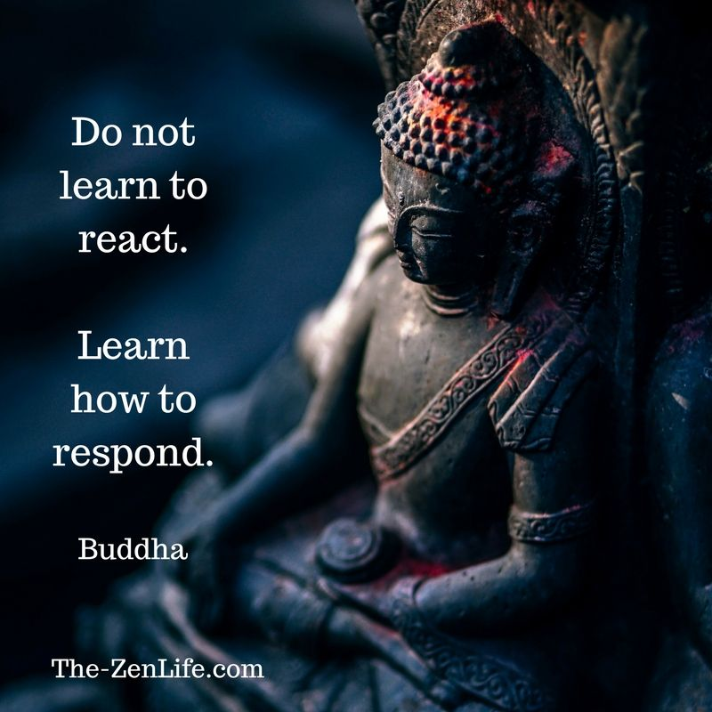 Buddha Quote Do Not Learn To React Learn How To Respond Lesson Be Mindful Pause And Consider A Thoughtful Compas Buddha Sculpture Buddha Buddha Birthday