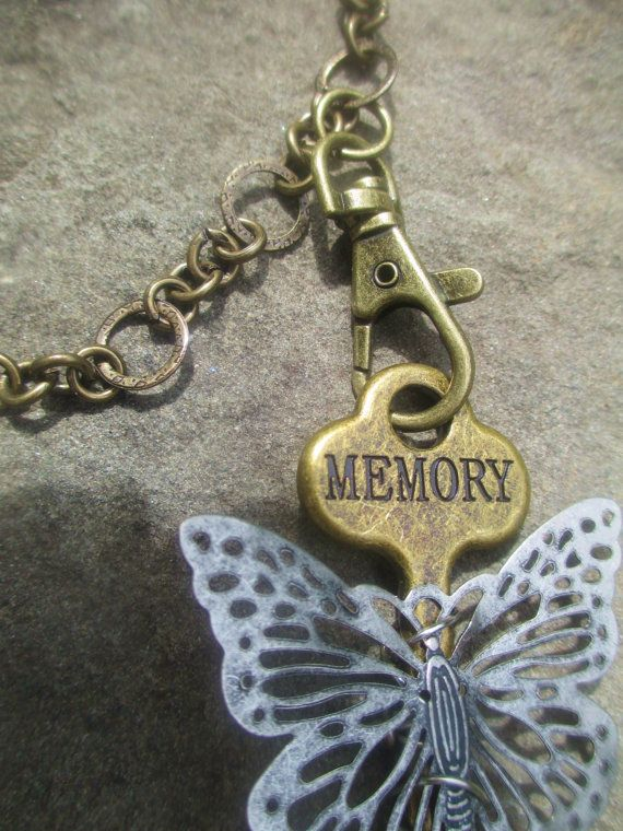Skeleton KEY STEAMPUNK Necklace Bronze Butterfly Swarovski Crystal Xchangeable K01