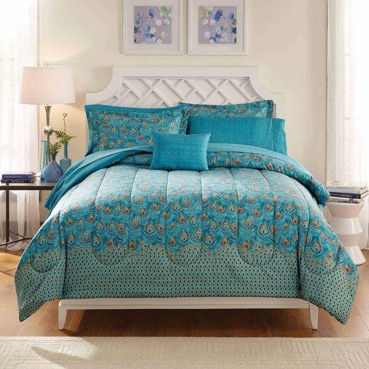 Dark Teal Leaves Teal And Gray Bed In A Bag Teal E