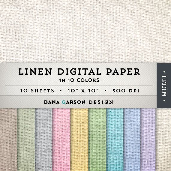Linen Digital Paper Set, 10 sheets for blog graphics, scrapbooking, digital collage, clip art ClipArt, Instant Download, printable