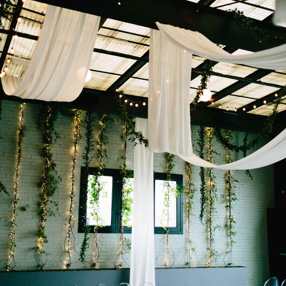 Stylish Wedding Ceremony Decor: Curtain Ideas Bistro Style - Google Search