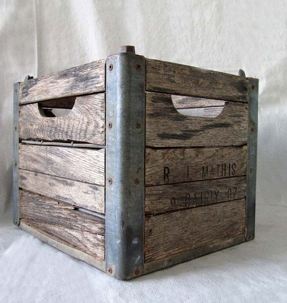 Vintage Wood And Metal Milk Crate By Edithandolive Metal Milk Crates Wood And Metal Vintage Industrial Furniture
