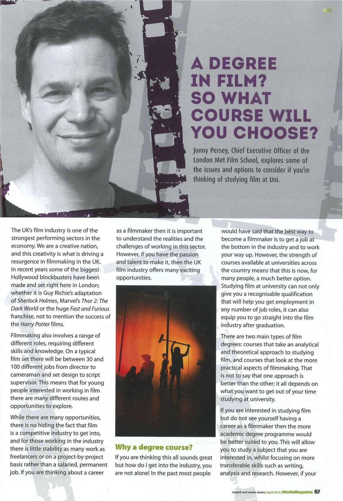 MediaMagazine interviews Met Film's Jonny Persey to talk about choosing your perfect film degree