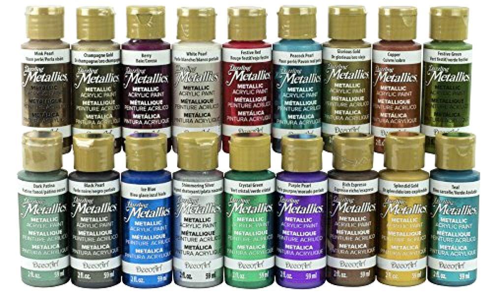 Americana Dazzling Metallics Fan Favorites Sampler Set Decoart Acrylic Paint Set Paint Sets Glitter Paint