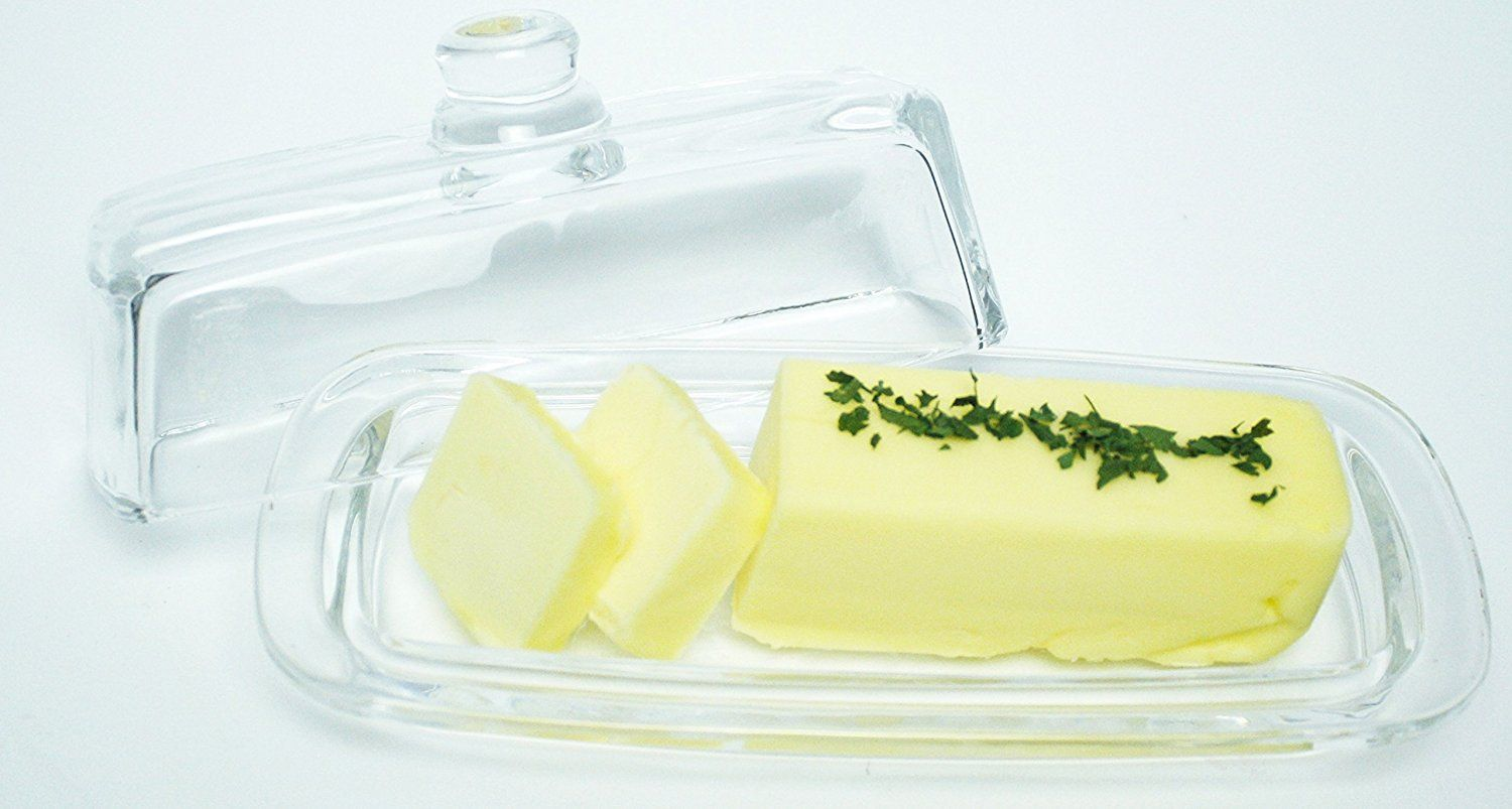 LeadFree Crystal Covered Modern French Butter Dish with