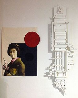 2 New Works - Paper/print collage + Stitched Wood | by anczelowitz