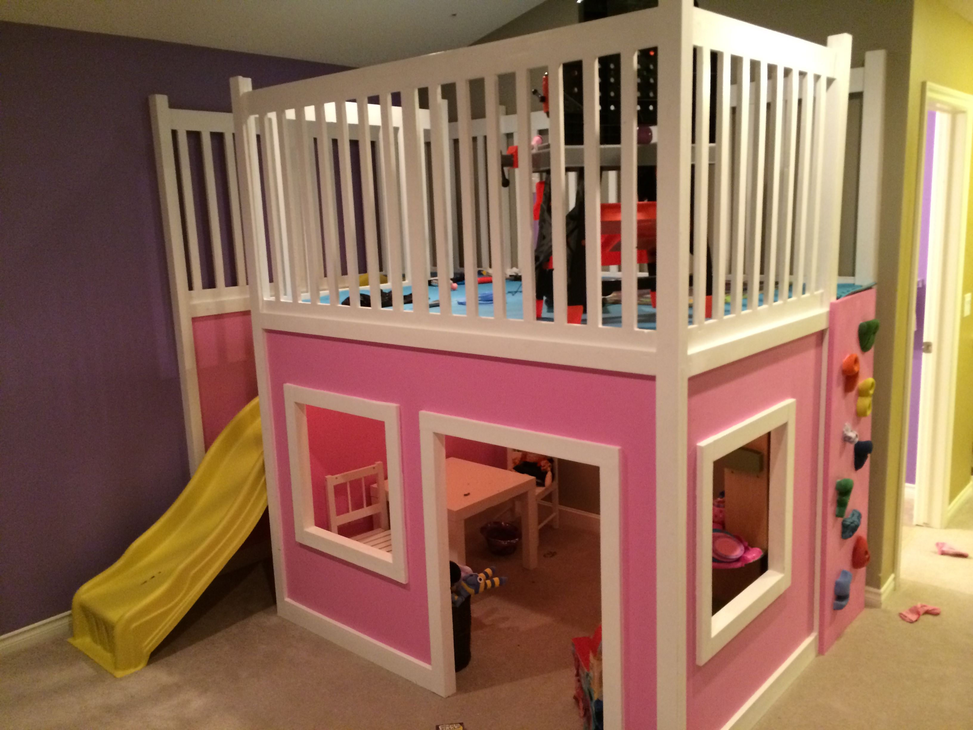 Kids loft bed with slide plans - Playhouse Loft Bed With Extended Railing Slide Rock Wall