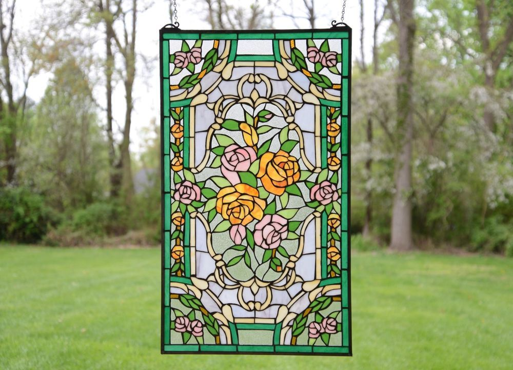 """20/"""" x 34/""""Rose Flower Handcrafted stained glass window panel"""