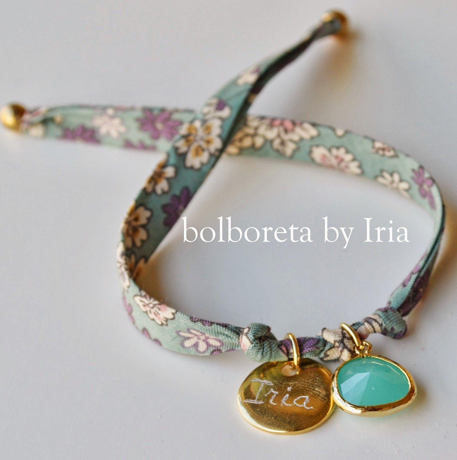 b07bfa9d849c Pulsera de tela liberty con ágatha y chapa personalizada | cuffs and ...