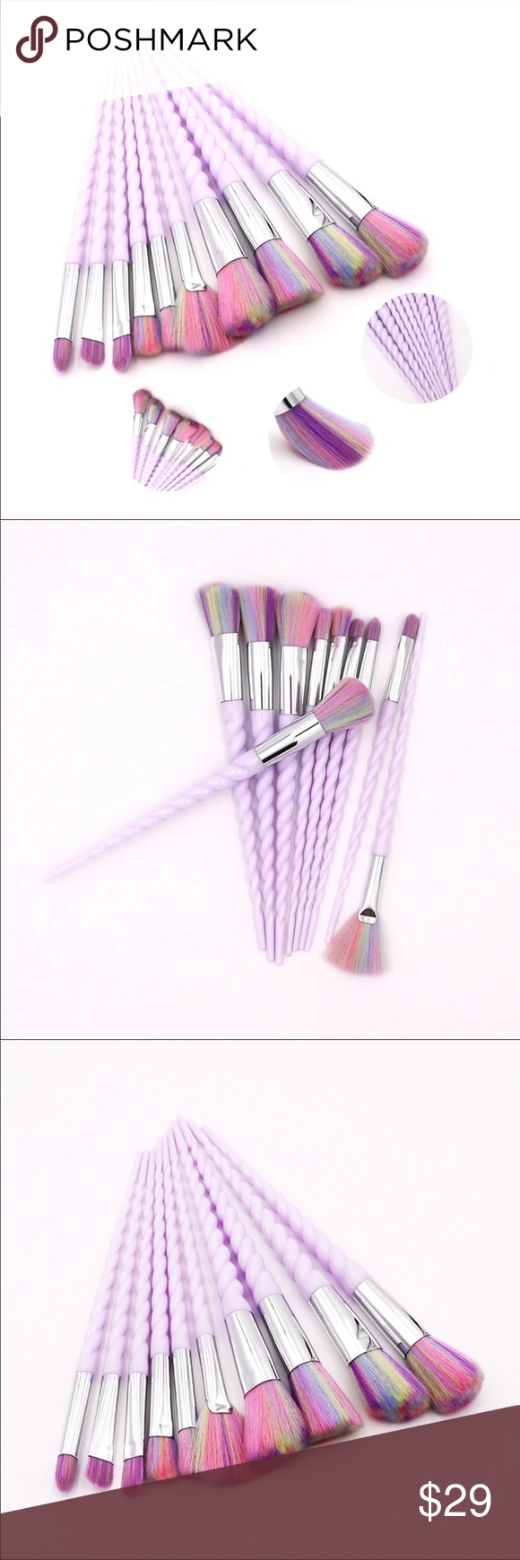 Photo of 10-tlg Make-up Pinsel Set Professionelle Make-up Pinsel Set 10-tlg Griff M … -…