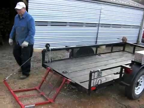 Homemade Wood Lift For Utility Trailer Youtube With Images