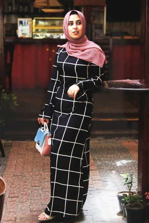 caec0ce9bf73 black checked maxi dress-Hijab style summer 2018 – Just Trendy Girls ...