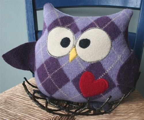 Owl made from upcycled wool sweater