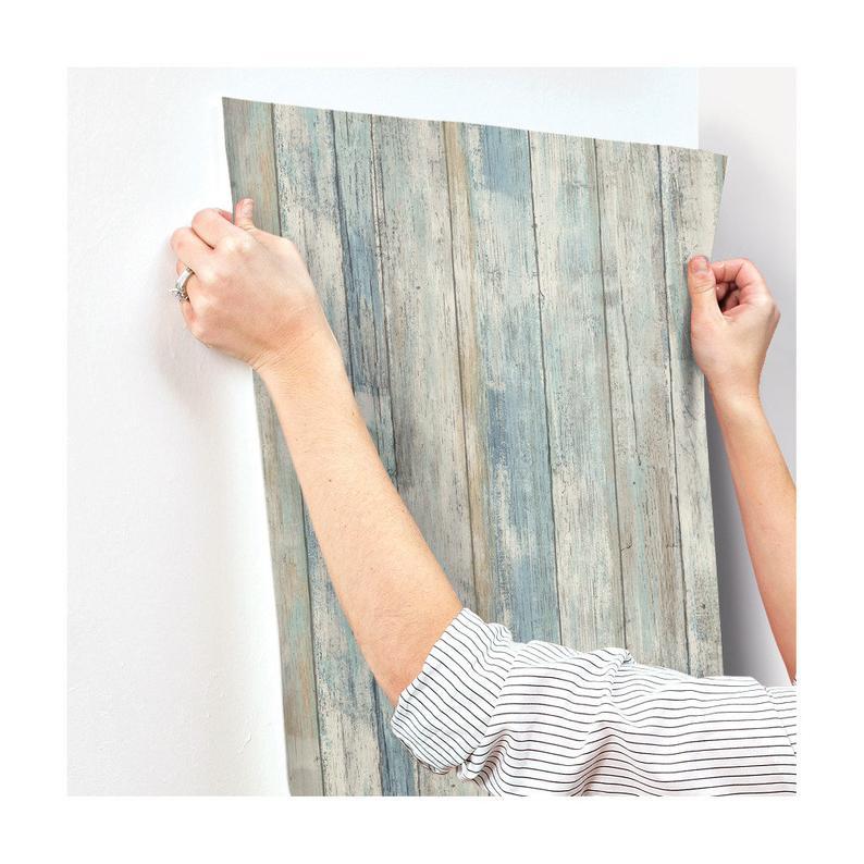 Blue Distressed Barnwood Plank Wood Peel And Stick Wallpaper Etsy Peel And Stick Wallpaper Peel And Stick Shiplap How To Distress Wood