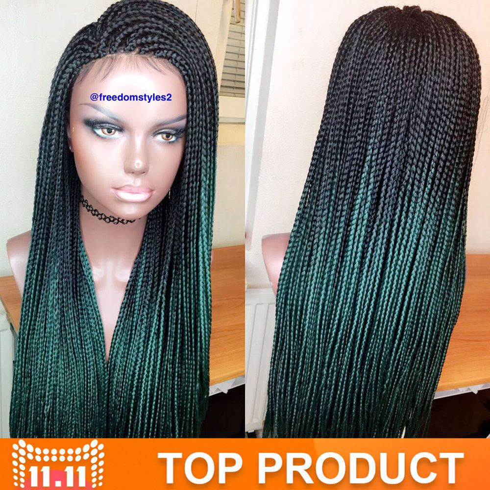 Green Ombre Kanekalon Braiding Hair 24 Inch Kanekalon