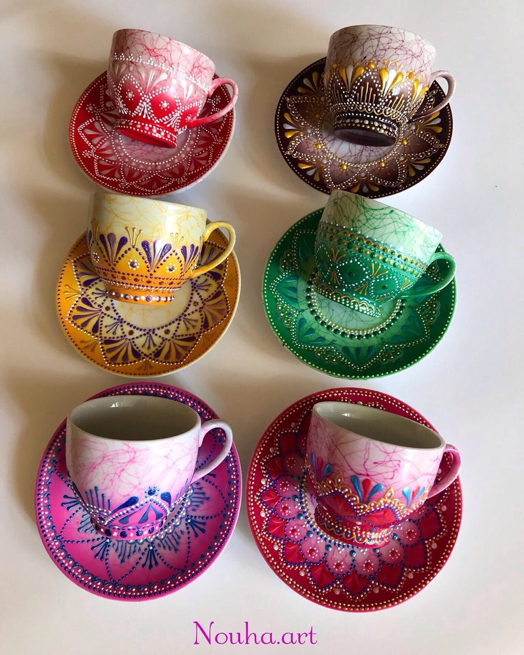 Nouha Moukalled On Instagram Wish You A Colourful Life Like These Cups Staysafe Ceramics Pottery Art Hand Painted Ceramics Painted Coffee Mugs