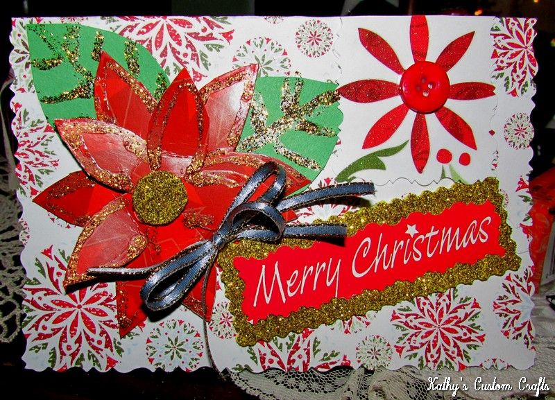 "Handmade ""Poinsettia"" Christmas Card 