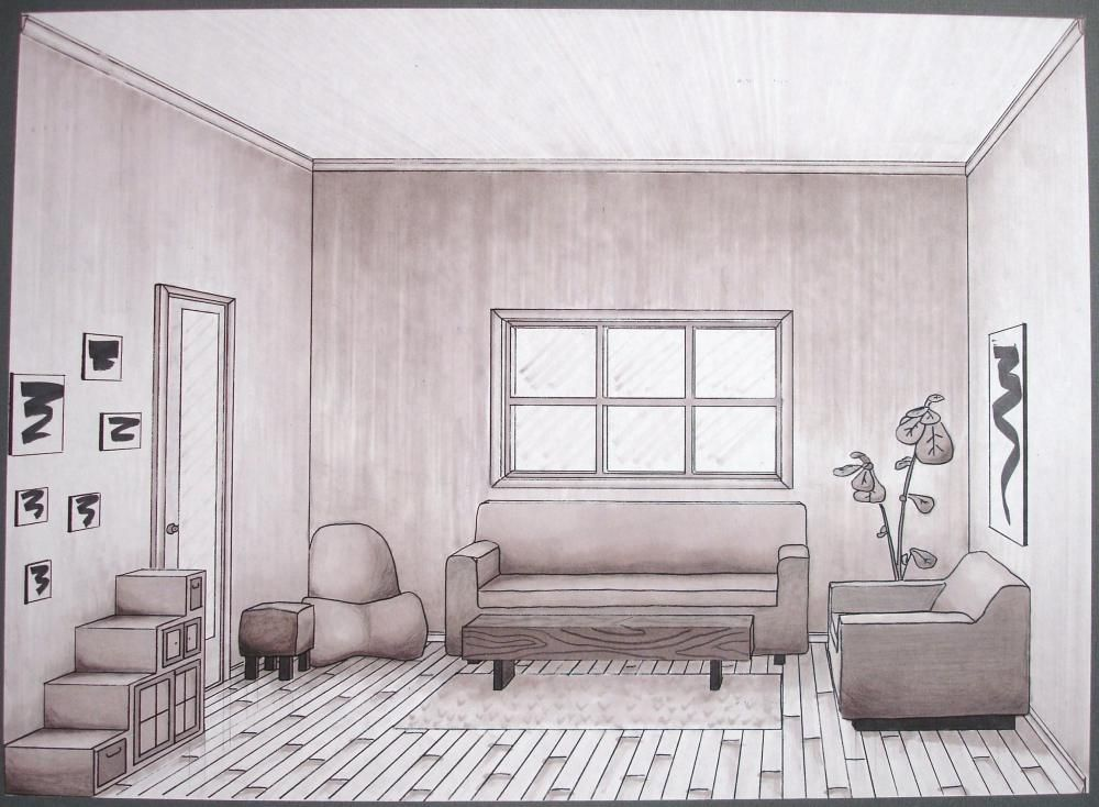 One Point Perspective Drawings   Google Search