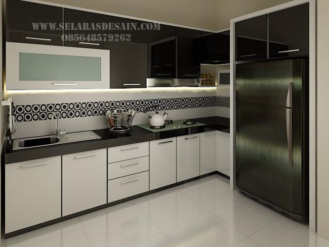 Desain Kitchen Set Elegan Dengan Nuansa Hitam Putih Dapur