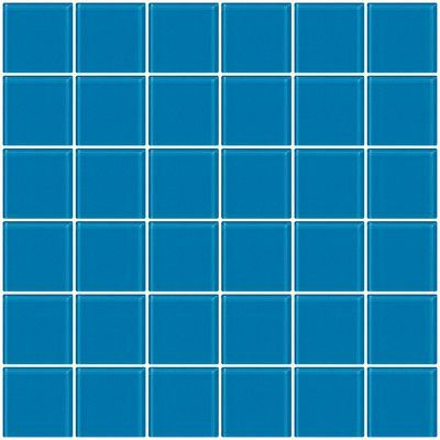"SusanJablon Bijou 22 2"" x 2"" Glass Mosaic Tile in Turquoise Blue"
