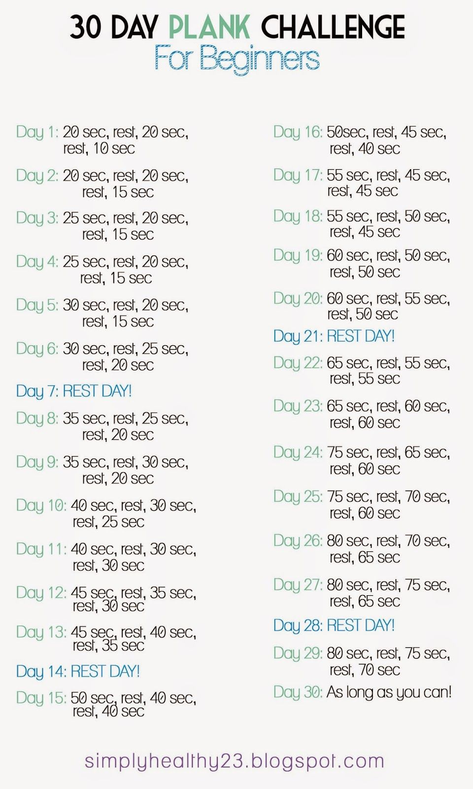 30 day plank challenge for beginners workouts pinterest rh pinterest com