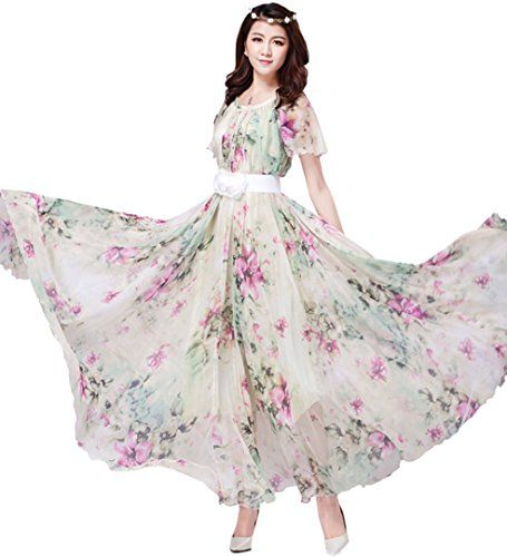 Medeshe Chiffon Butterfly Sleeves Bridesmaid Holiday Beach Floral Dress  Sundress Length 135cm Multicolor    Continue to the product at the image  link. acb684584